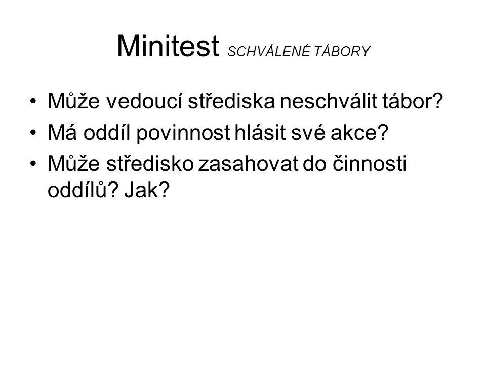 Minitest SCHVÁLENÉ TÁBORY