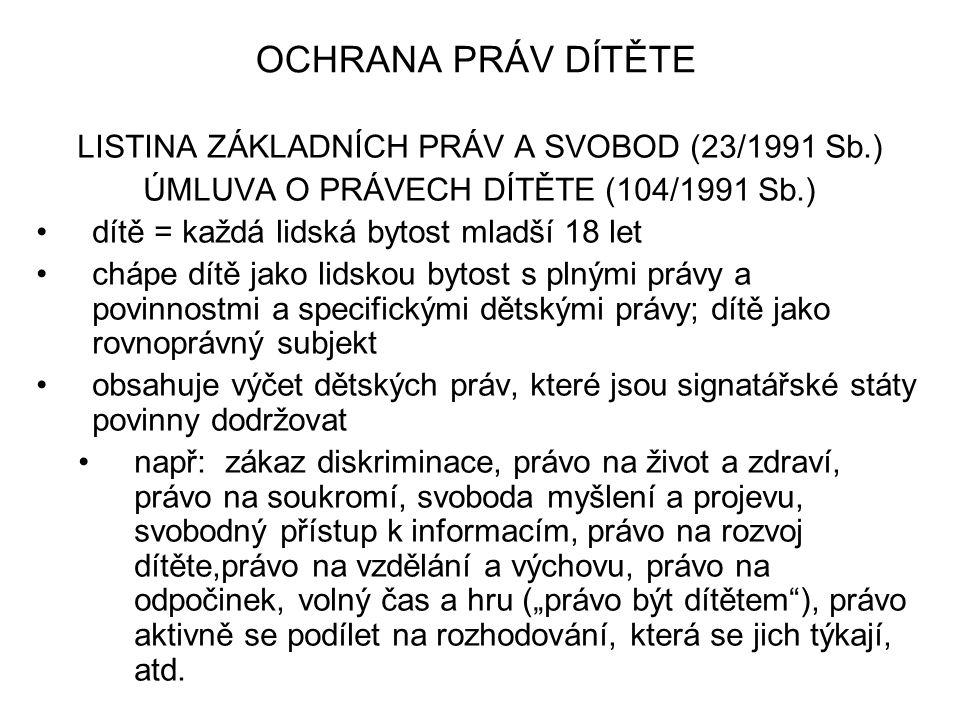 OCHRANA PRÁV DÍTĚTE LISTINA ZÁKLADNÍCH PRÁV A SVOBOD (23/1991 Sb.)
