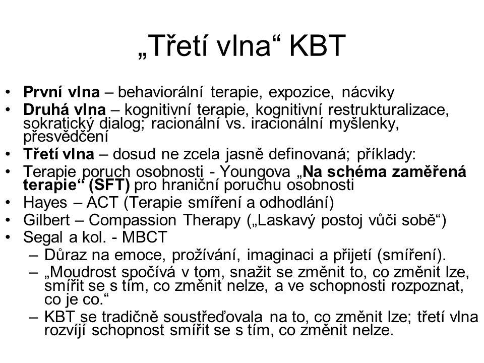 """""""Třetí vlna KBT První vlna – behaviorální terapie, expozice, nácviky"""