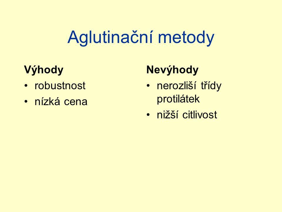 Aglutinační metody Výhody robustnost nízká cena Nevýhody