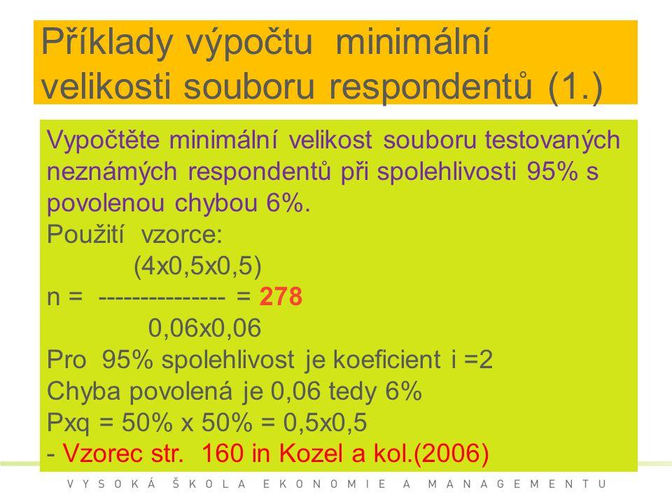 Příklady výpočtu minimální velikosti souboru respondentů (1.)