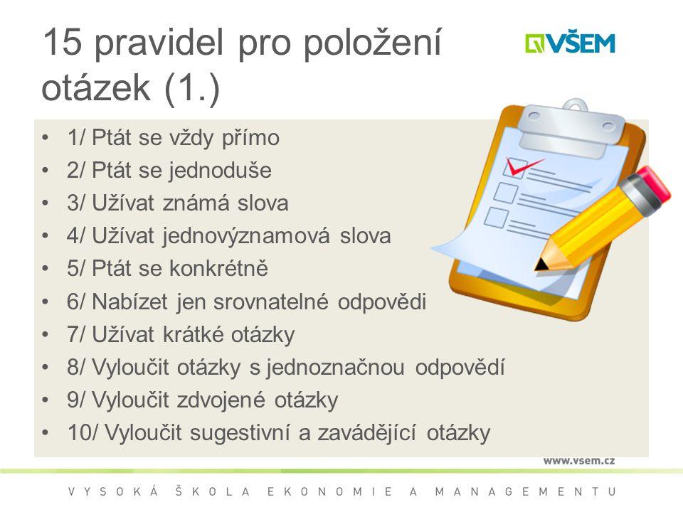 15 pravidel pro položení otázek (1.)