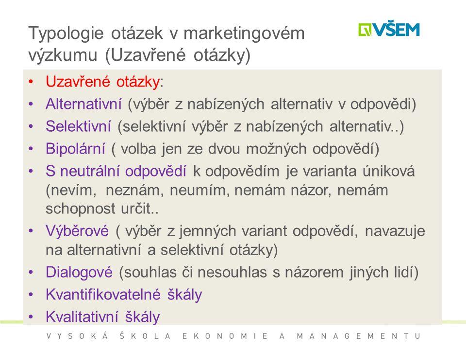Typologie otázek v marketingovém výzkumu (Uzavřené otázky)