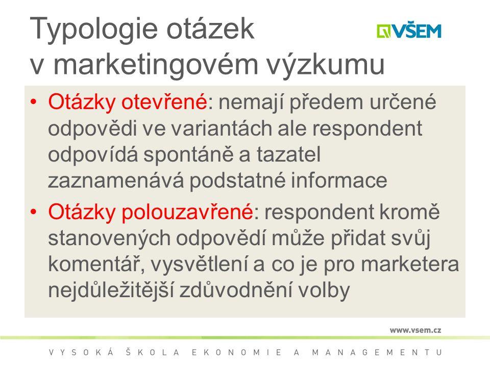 Typologie otázek v marketingovém výzkumu