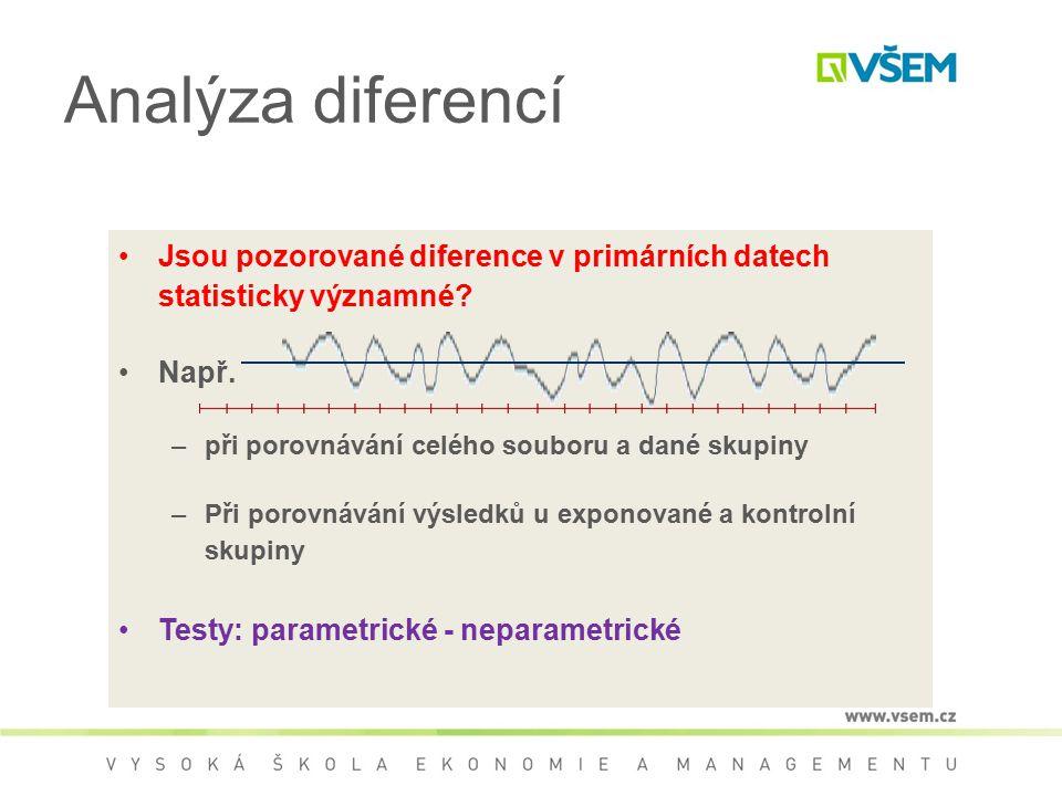 Analýza diferencí Jsou pozorované diference v primárních datech statisticky významné Např. při porovnávání celého souboru a dané skupiny.
