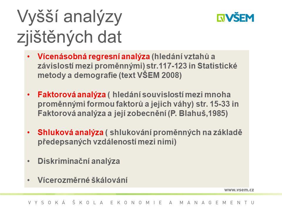 Vyšší analýzy zjištěných dat