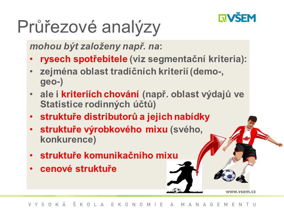 Průřezové analýzy mohou být založeny např. na: