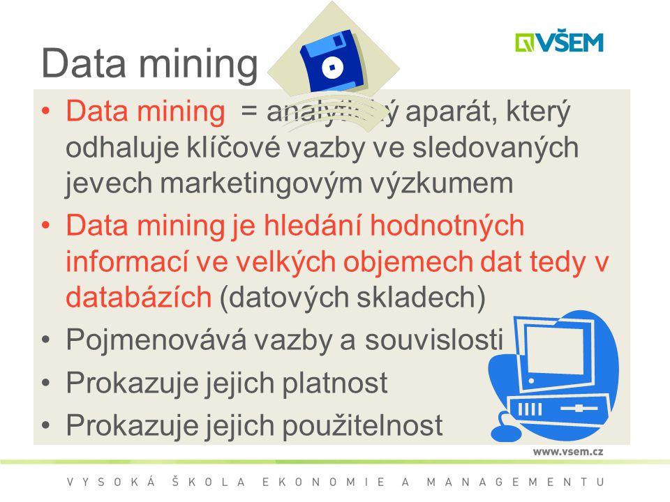 Data mining Data mining = analytický aparát, který odhaluje klíčové vazby ve sledovaných jevech marketingovým výzkumem.