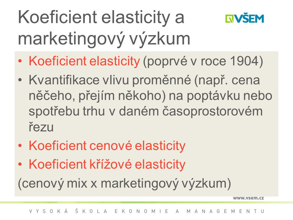 Koeficient elasticity a marketingový výzkum