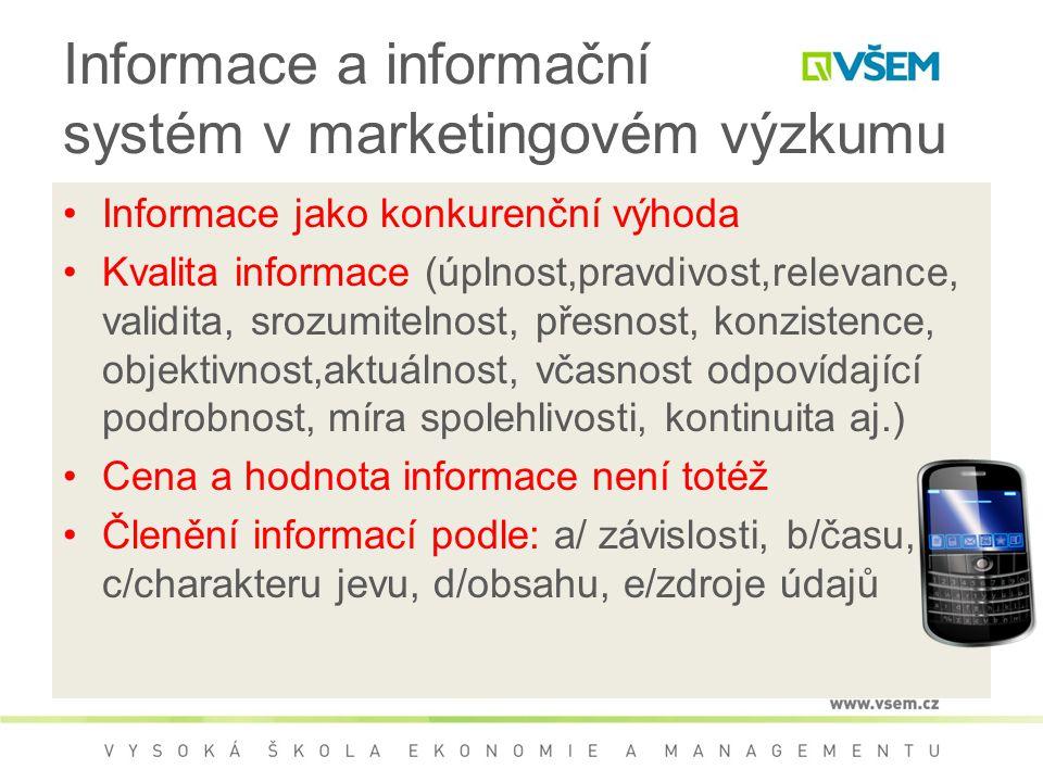 Informace a informační systém v marketingovém výzkumu