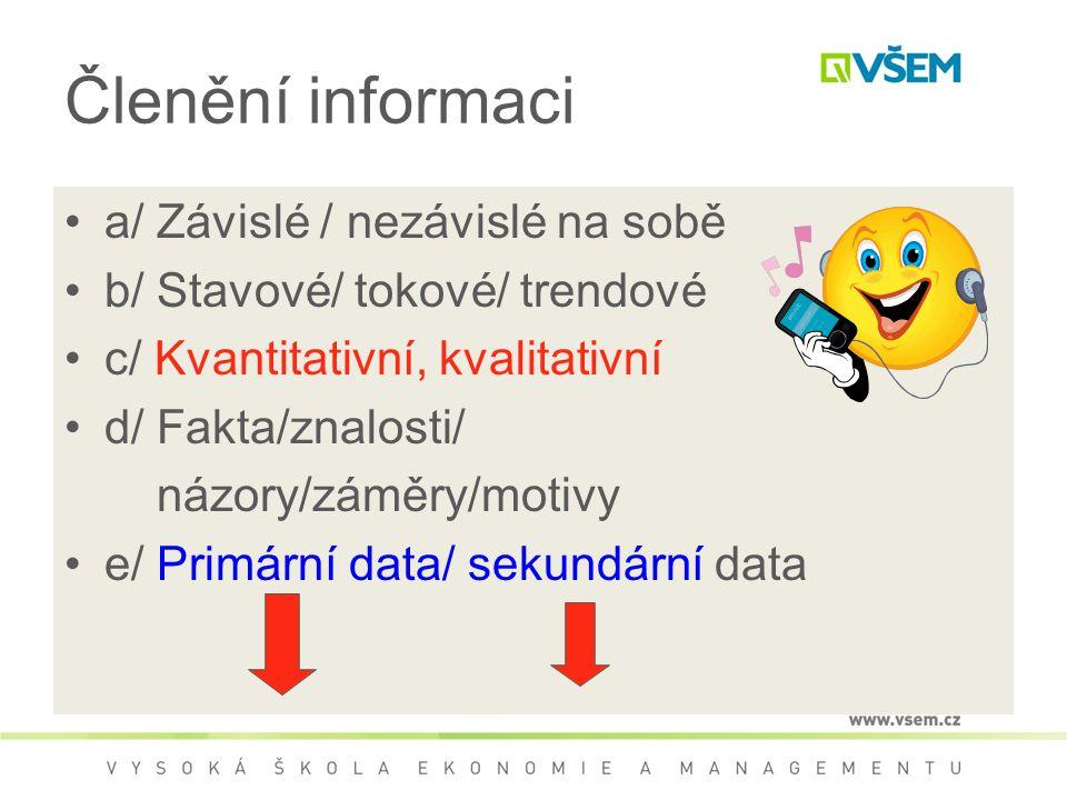 Členění informaci a/ Závislé / nezávislé na sobě