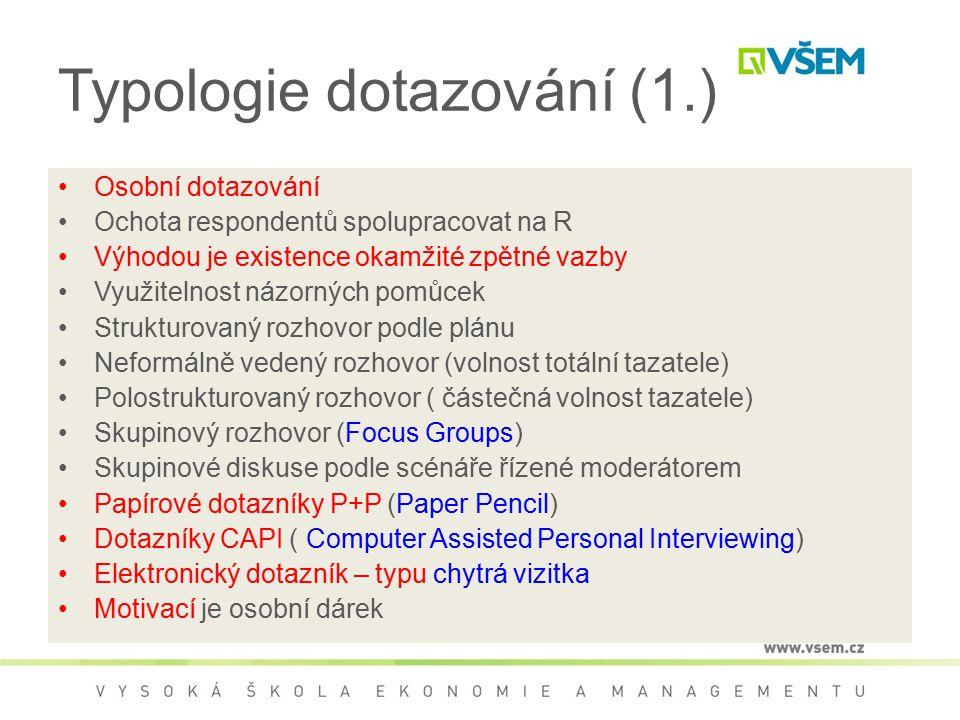 Typologie dotazování (1.)
