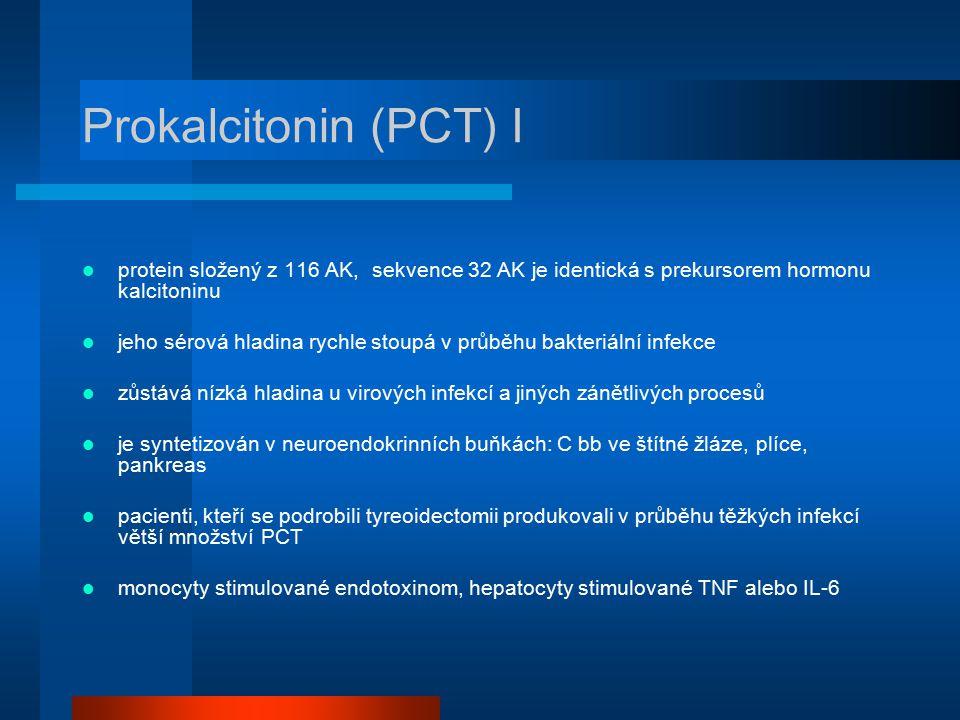 Prokalcitonin (PCT) I protein složený z 116 AK, sekvence 32 AK je identická s prekursorem hormonu kalcitoninu.