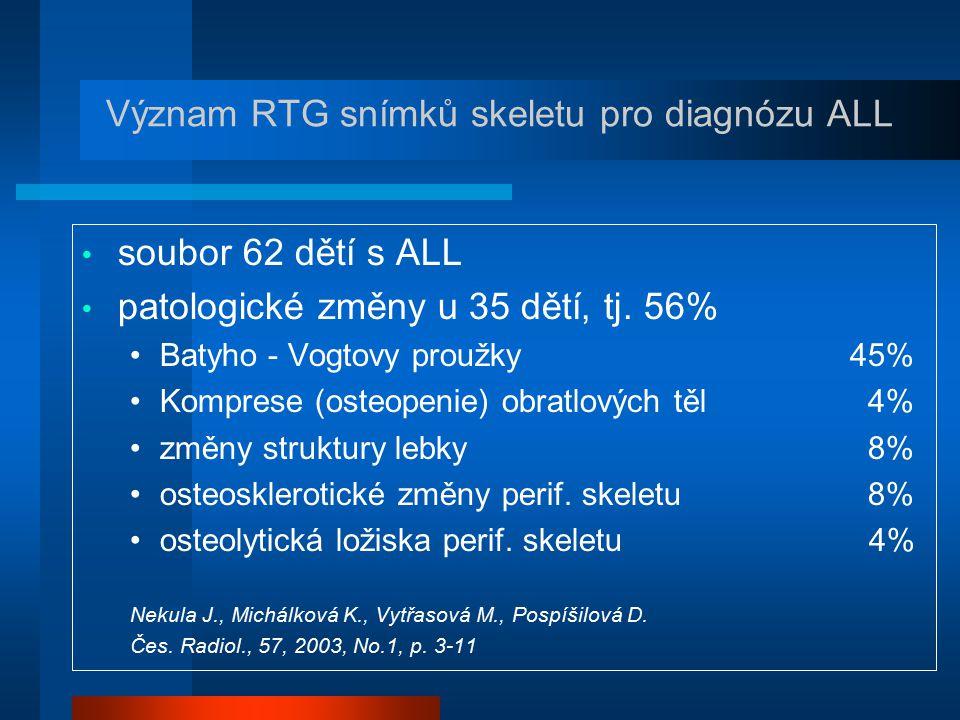 Význam RTG snímků skeletu pro diagnózu ALL