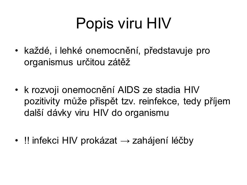 Popis viru HIV každé, i lehké onemocnění, představuje pro organismus určitou zátěž.
