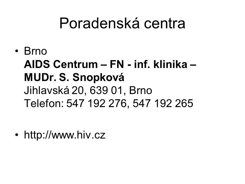 Poradenská centra Brno AIDS Centrum – FN - inf. klinika – MUDr. S. Snopková Jihlavská 20, 639 01, Brno Telefon: 547 192 276, 547 192 265.