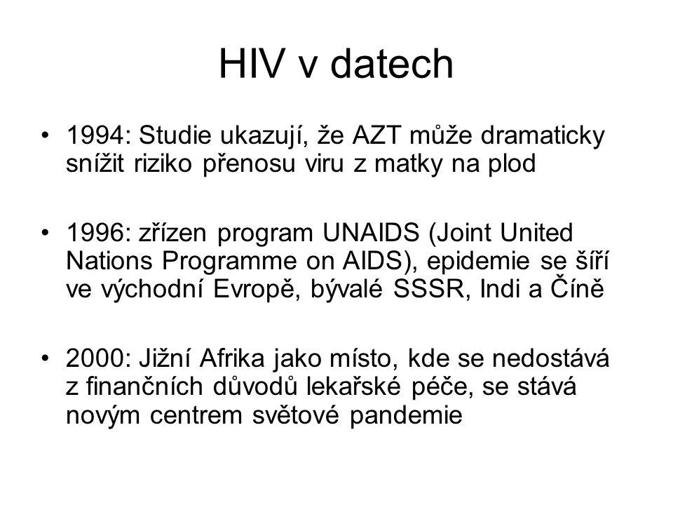 HIV v datech 1994: Studie ukazují, že AZT může dramaticky snížit riziko přenosu viru z matky na plod.