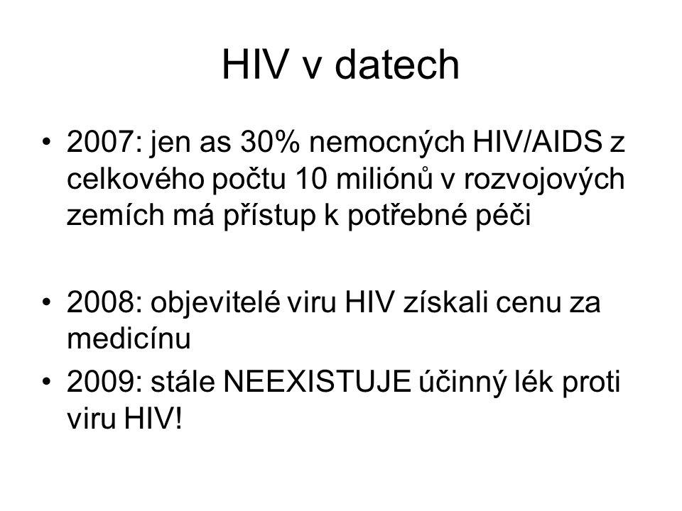 HIV v datech 2007: jen as 30% nemocných HIV/AIDS z celkového počtu 10 miliónů v rozvojových zemích má přístup k potřebné péči.