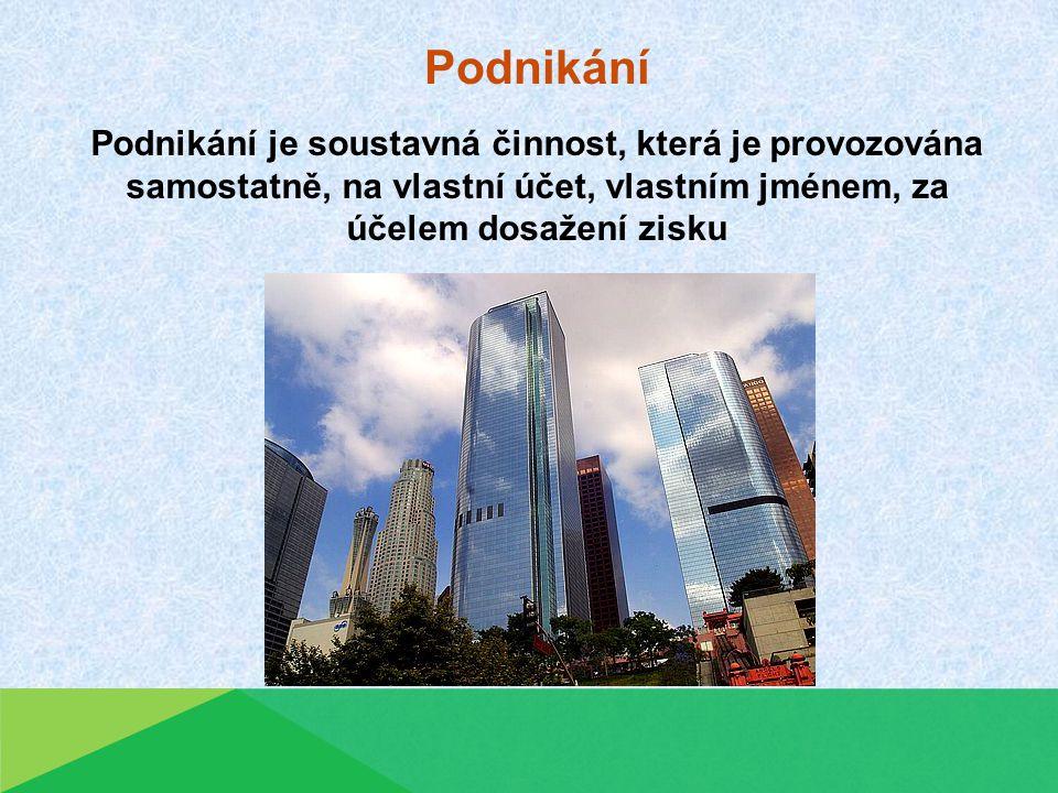 Podnikání Podnikání je soustavná činnost, která je provozována samostatně, na vlastní účet, vlastním jménem, za účelem dosažení zisku.