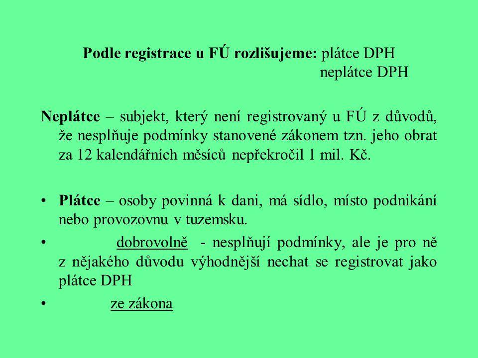 Podle registrace u FÚ rozlišujeme: plátce DPH neplátce DPH