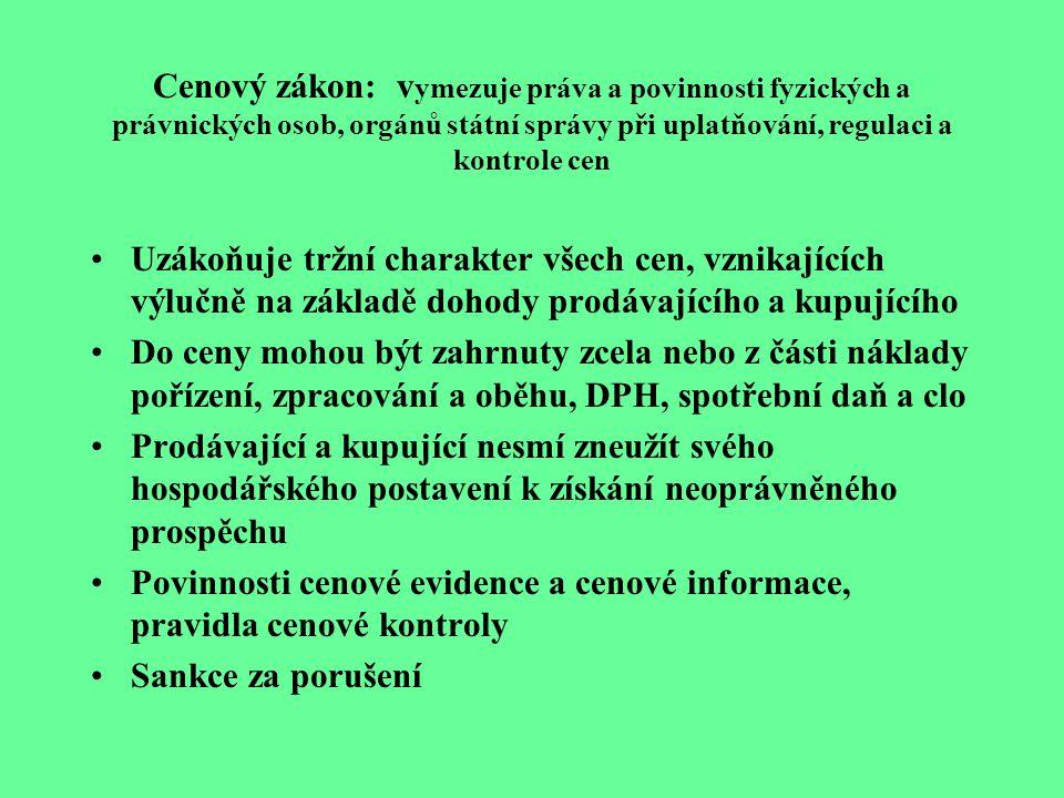 Cenový zákon: vymezuje práva a povinnosti fyzických a právnických osob, orgánů státní správy při uplatňování, regulaci a kontrole cen