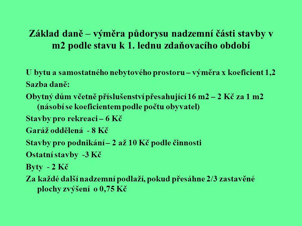 Základ daně – výměra půdorysu nadzemní části stavby v m2 podle stavu k 1. lednu zdaňovacího období