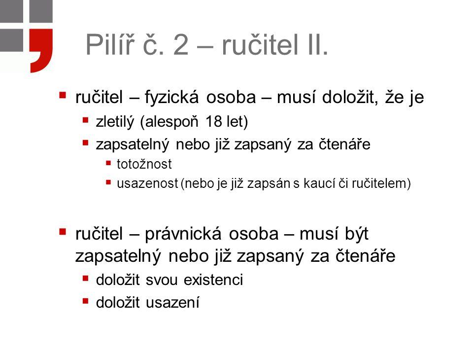 Pilíř č. 2 – ručitel II. ručitel – fyzická osoba – musí doložit, že je