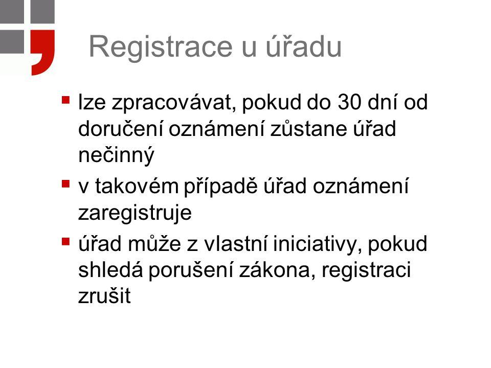 Registrace u úřadu lze zpracovávat, pokud do 30 dní od doručení oznámení zůstane úřad nečinný. v takovém případě úřad oznámení zaregistruje.