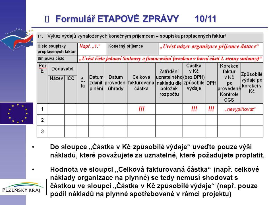Formulář ETAPOVÉ ZPRÁVY 10/11 î