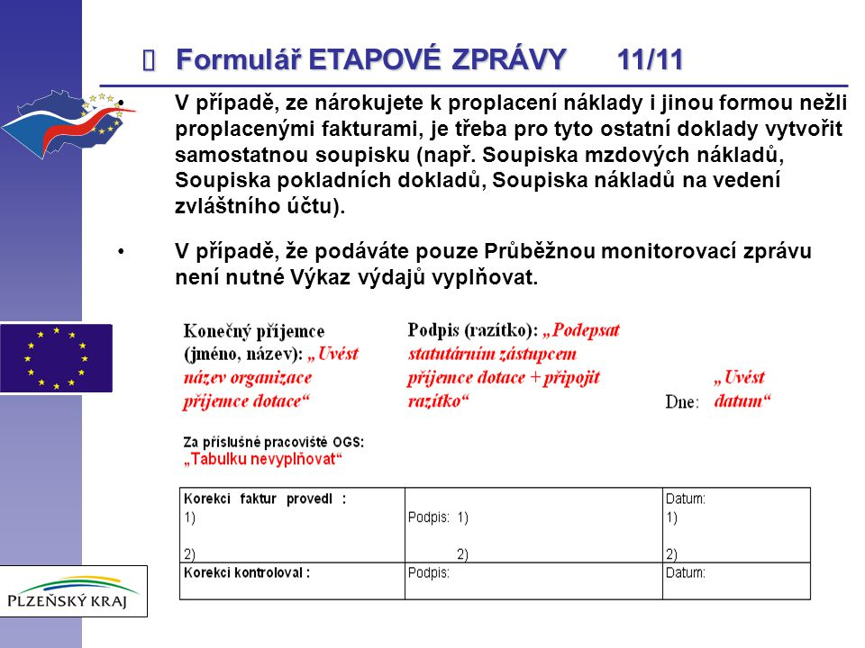 Formulář ETAPOVÉ ZPRÁVY 11/11 î