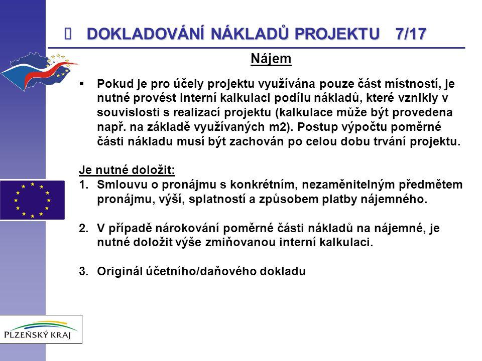 DOKLADOVÁNÍ NÁKLADŮ PROJEKTU 7/17