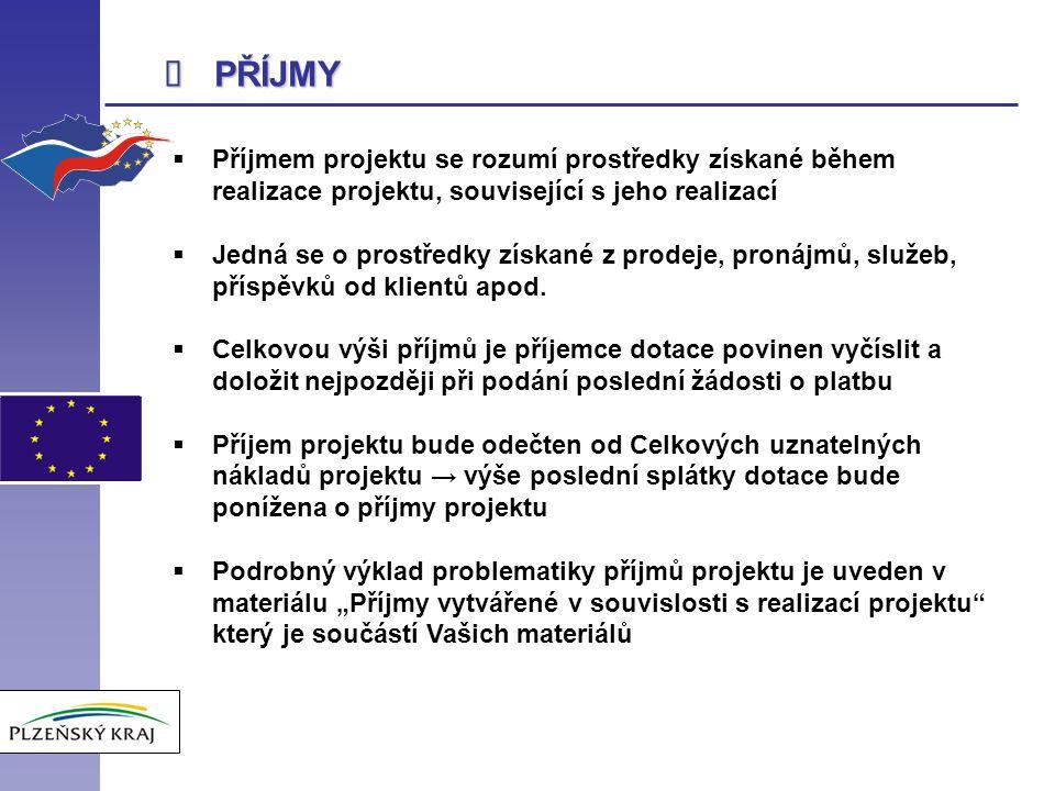 î PŘÍJMY. Příjmem projektu se rozumí prostředky získané během realizace projektu, související s jeho realizací.