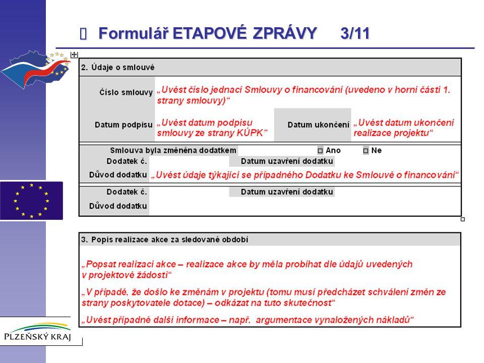 Formulář ETAPOVÉ ZPRÁVY 3/11