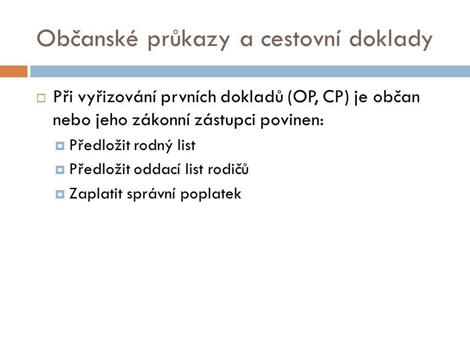 Občanské průkazy a cestovní doklady