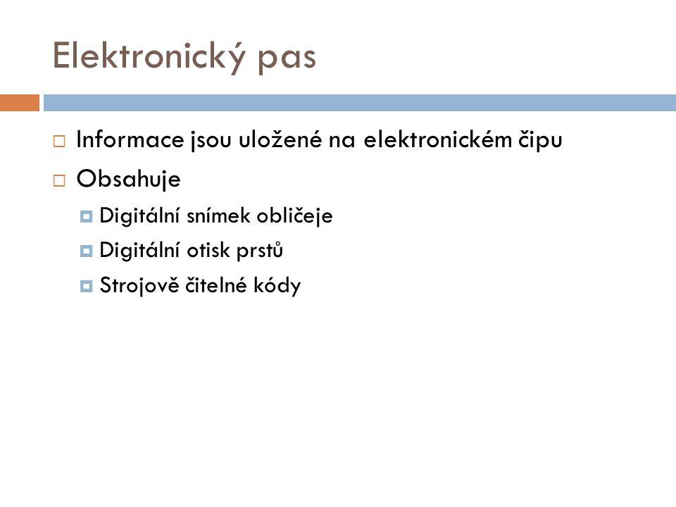 Elektronický pas Informace jsou uložené na elektronickém čipu Obsahuje