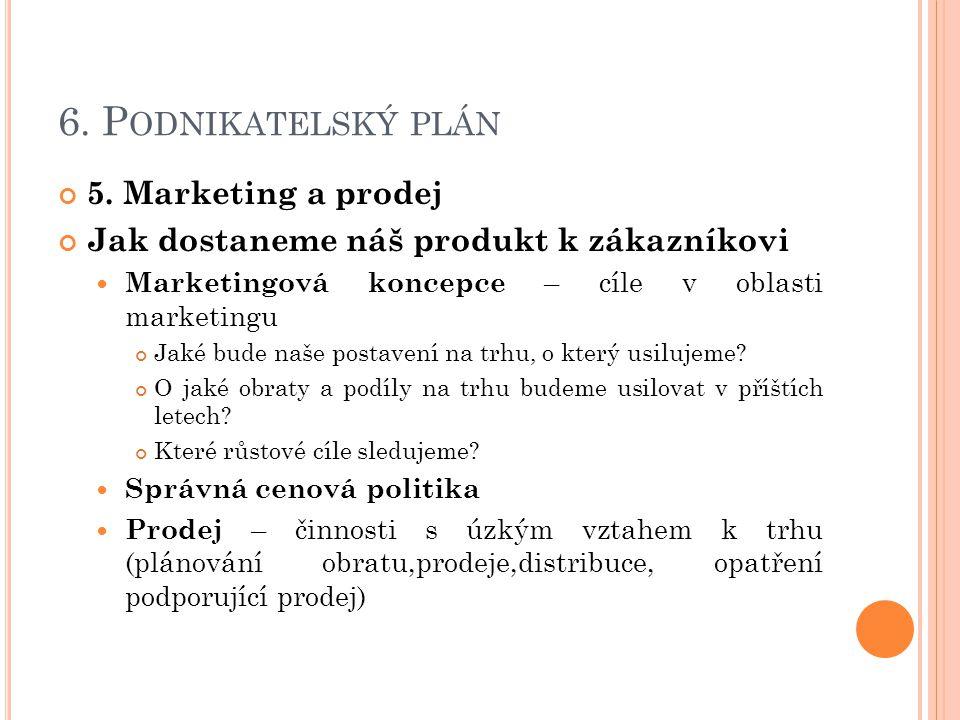6. Podnikatelský plán 5. Marketing a prodej