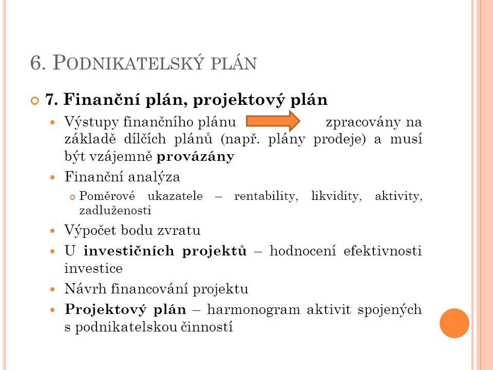 6. Podnikatelský plán 7. Finanční plán, projektový plán