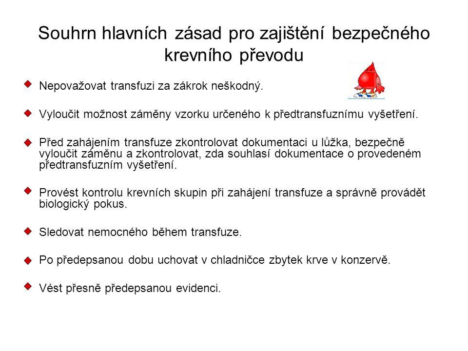 Souhrn hlavních zásad pro zajištění bezpečného krevního převodu