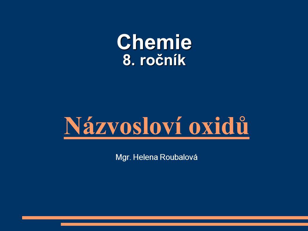Názvosloví oxidů Mgr. Helena Roubalová