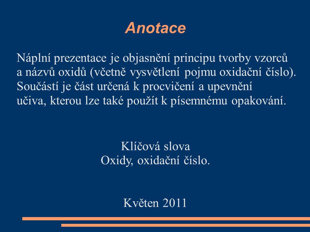Anotace Náplní prezentace je objasnění principu tvorby vzorců