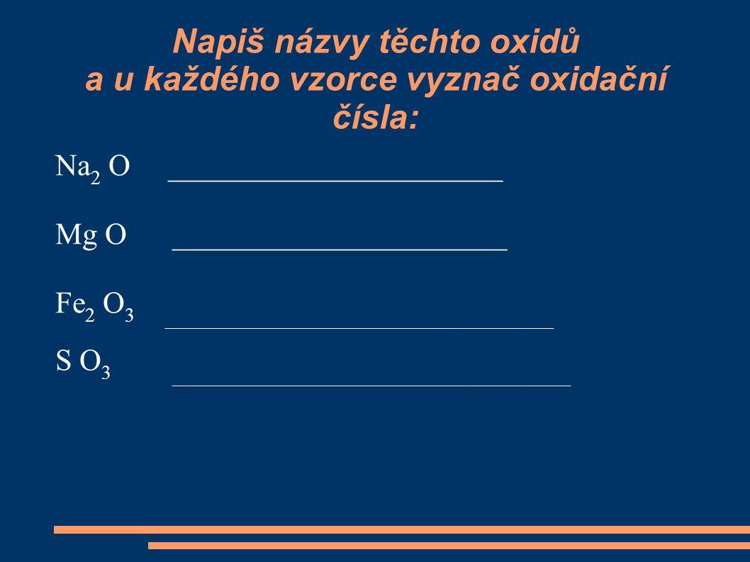 Napiš názvy těchto oxidů a u každého vzorce vyznač oxidační čísla: