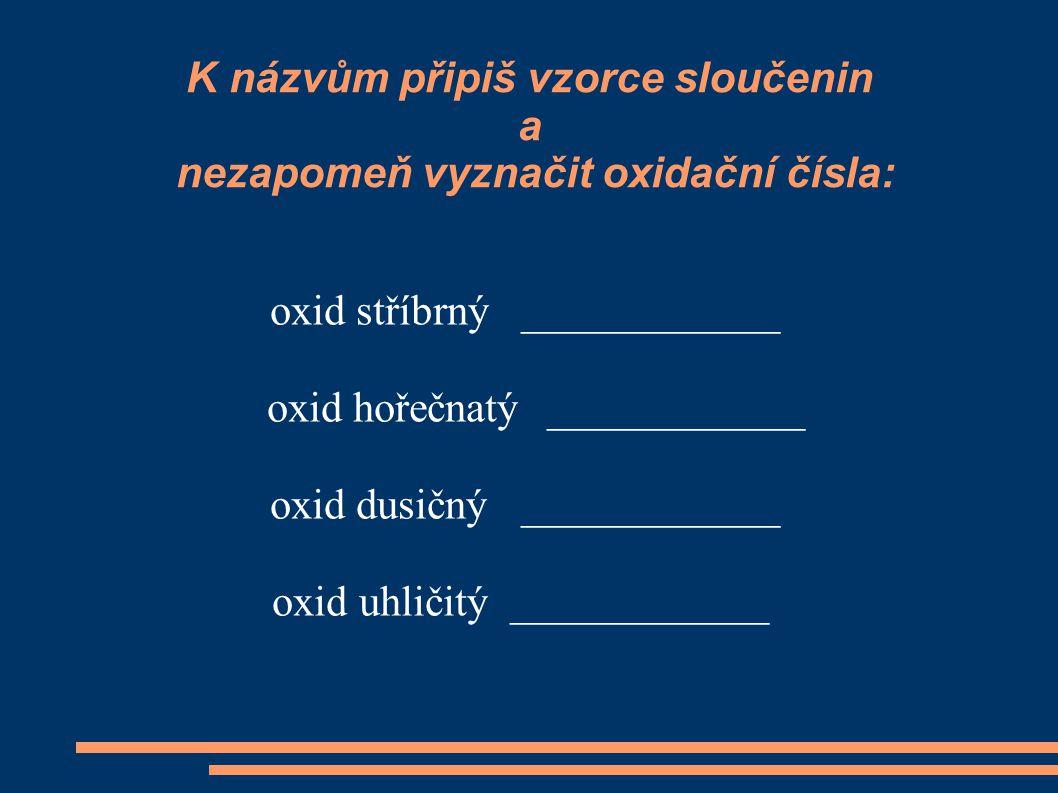 K názvům připiš vzorce sloučenin a nezapomeň vyznačit oxidační čísla: