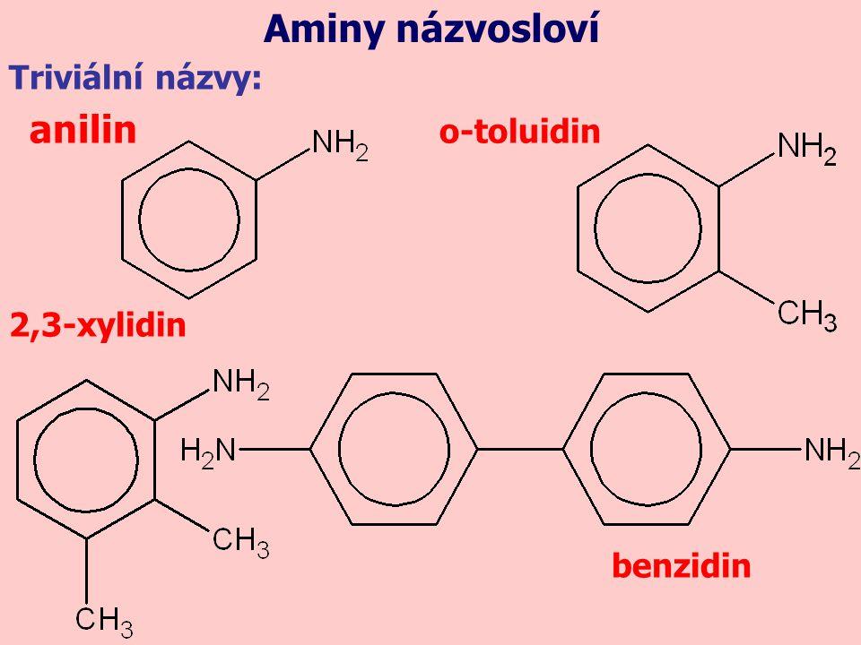 Aminy názvosloví Triviální názvy: anilin o-toluidin 2,3-xylidin