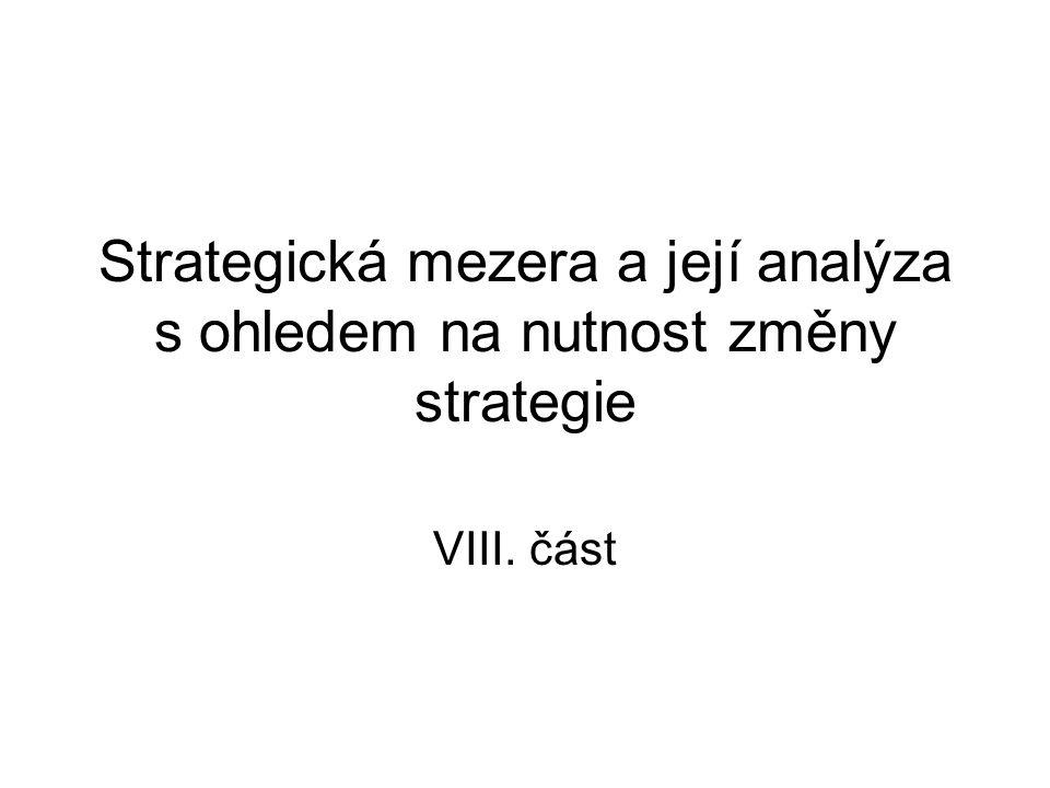 Strategická mezera a její analýza s ohledem na nutnost změny strategie