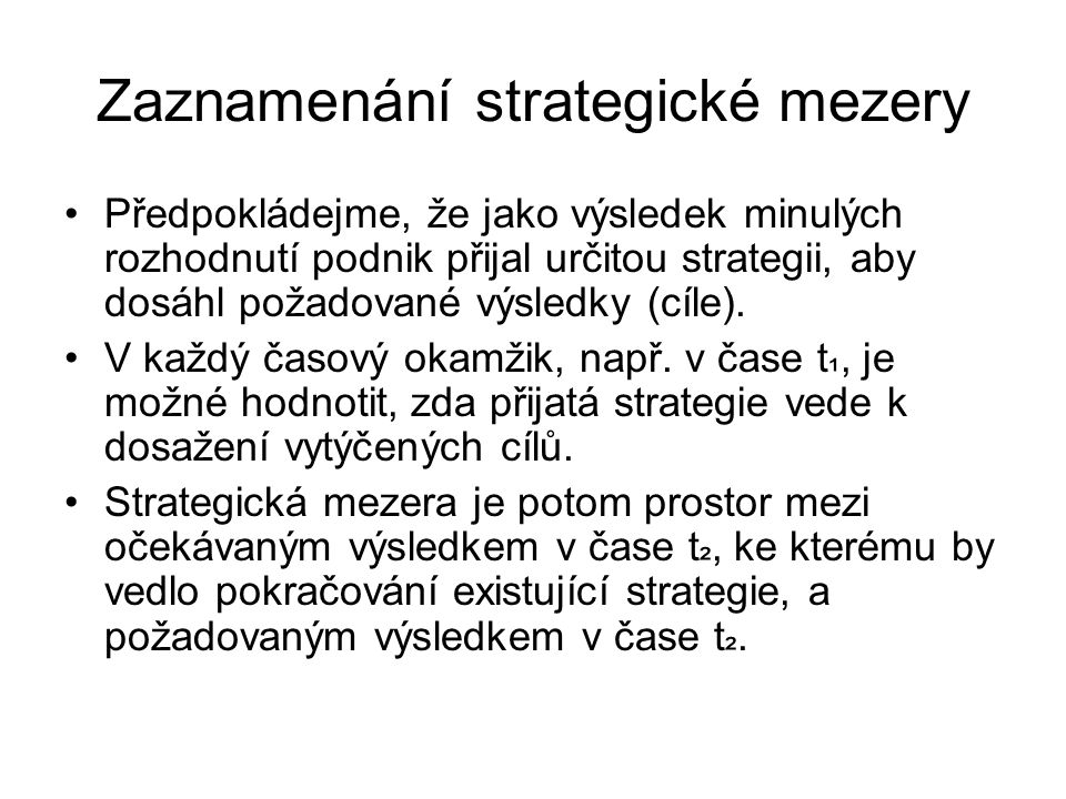 Zaznamenání strategické mezery