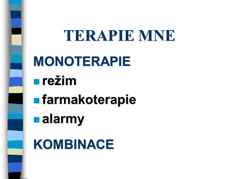 TERAPIE MNE MONOTERAPIE režim farmakoterapie alarmy KOMBINACE