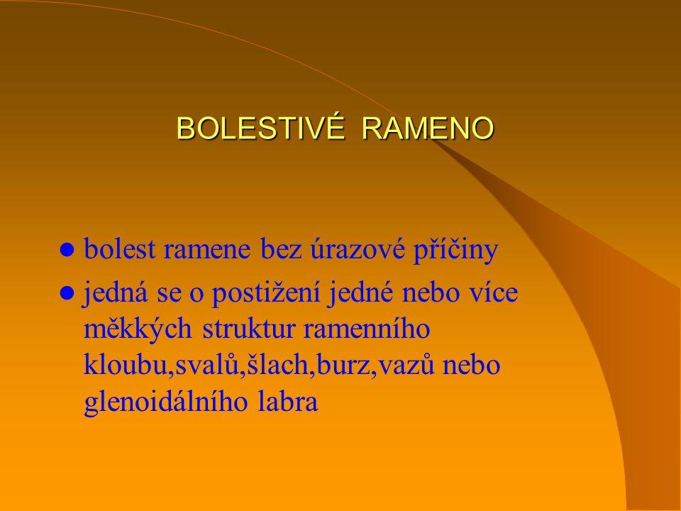 BOLESTIVÉ RAMENO bolest ramene bez úrazové příčiny.
