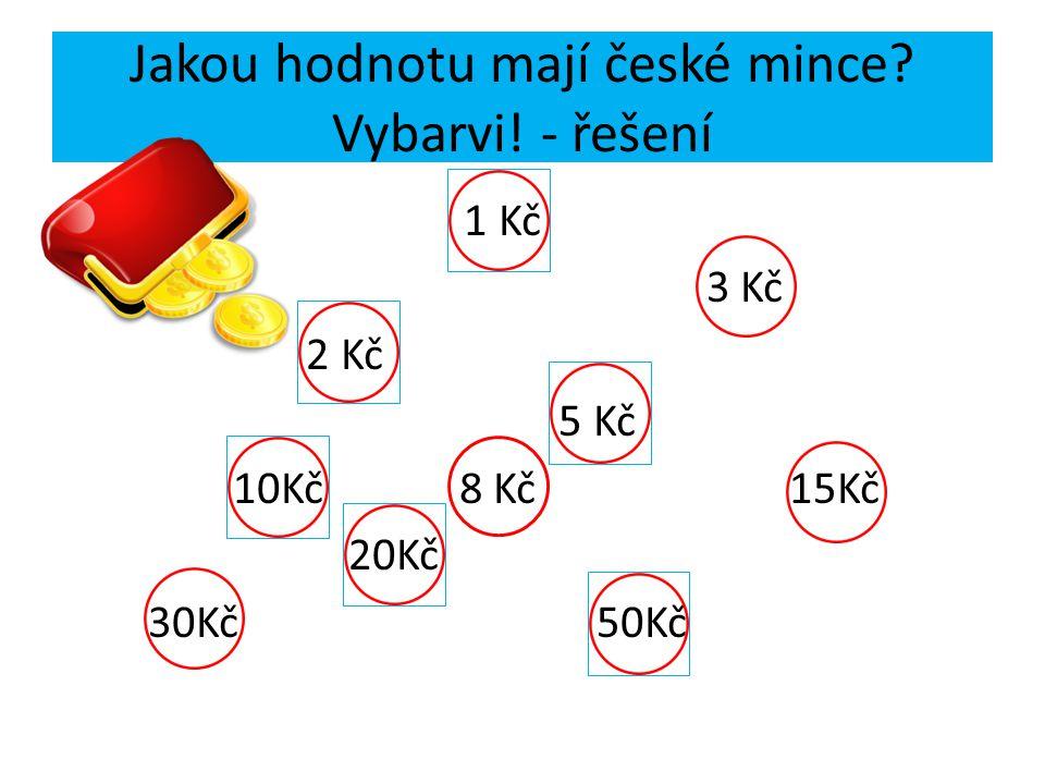 Jakou hodnotu mají české mince Vybarvi! - řešení