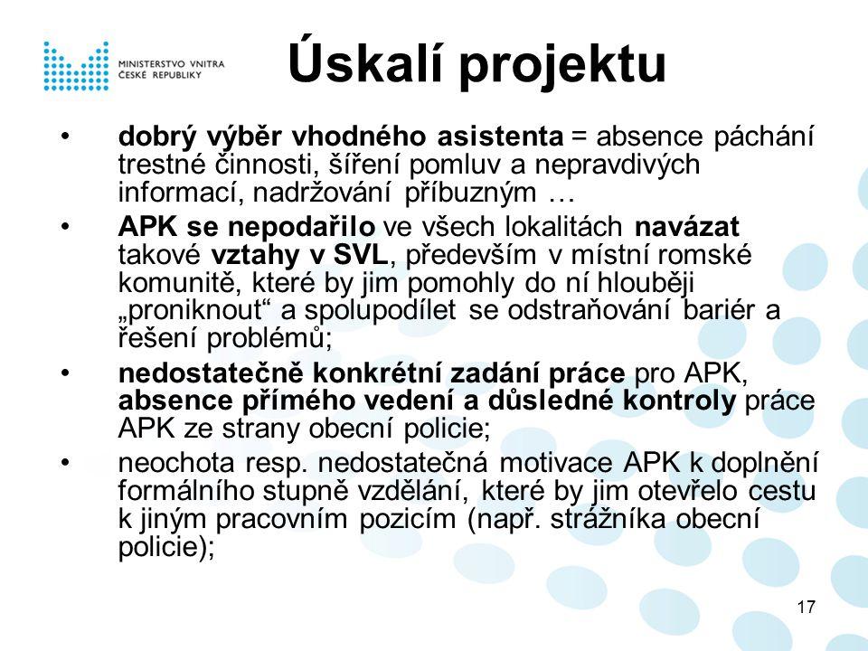 Úskalí projektu dobrý výběr vhodného asistenta = absence páchání trestné činnosti, šíření pomluv a nepravdivých informací, nadržování příbuzným …