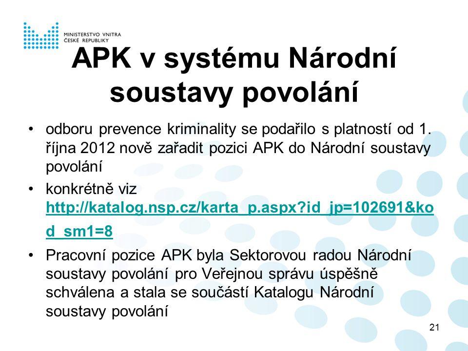 APK v systému Národní soustavy povolání